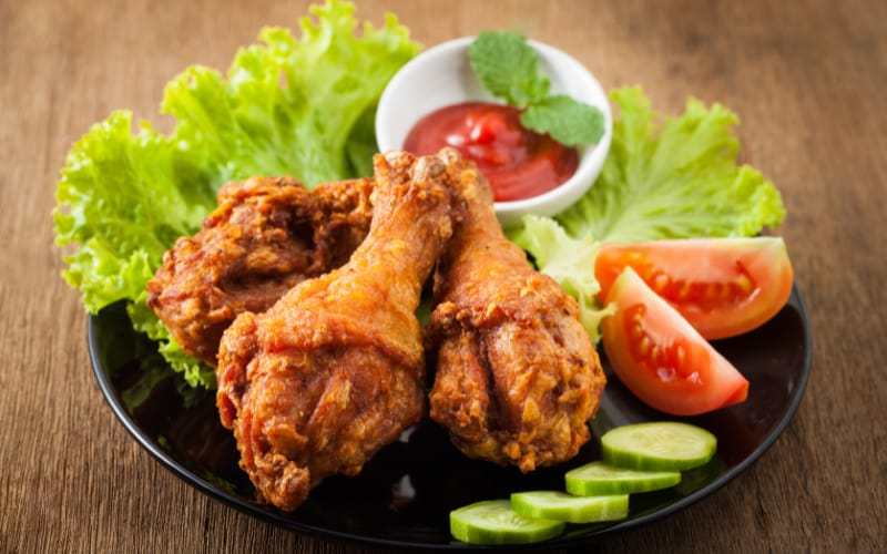 Fried Chicken With Salad Greens
