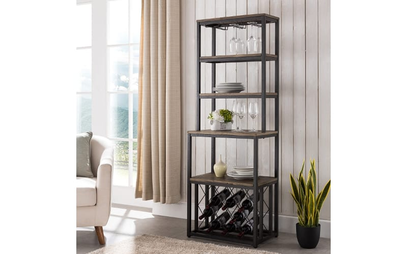 Furniture HotSpot – Reclaimed Wood Bakers Rack with Wine Storage