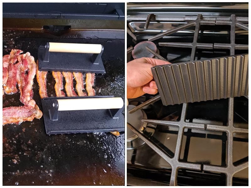GadgetWiz Enameled Bacon Cast Iron Grill Press review