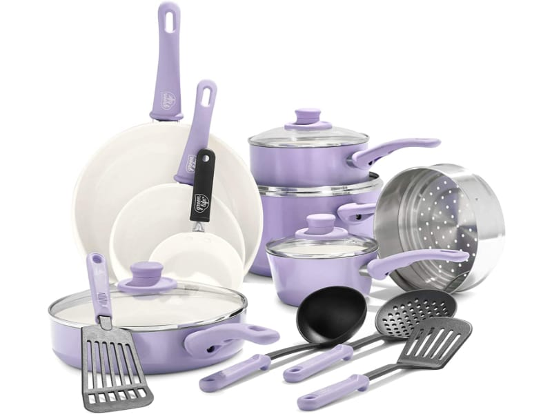 GreenLife Soft Grip Healthy Ceramic Nonstick, Cookware Pots and Pans Set