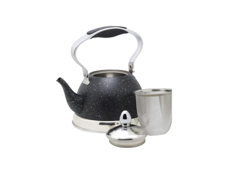 HausRoland mini tea kettle with a stainless steel strainer and top cover.