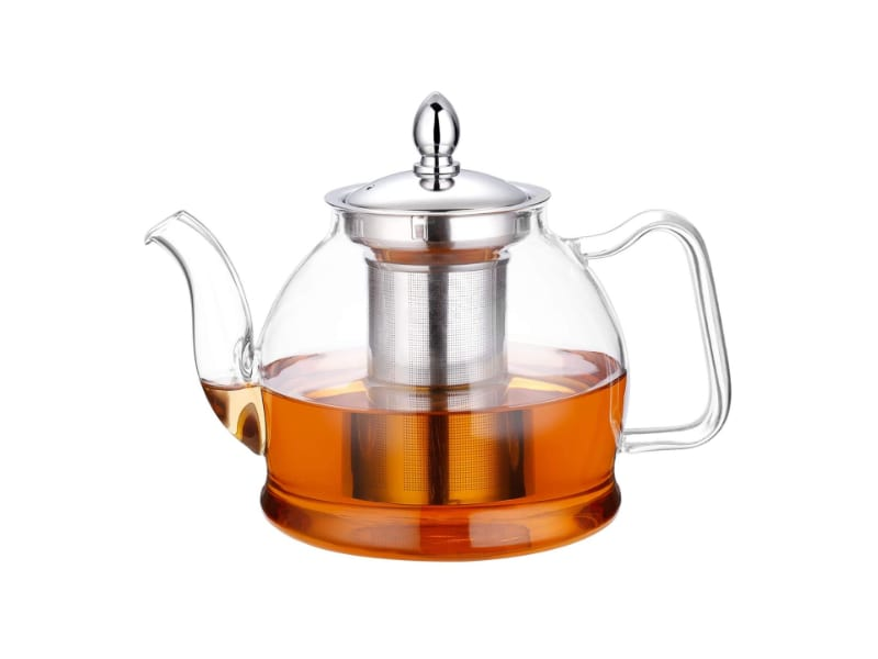 Hiware glass teapot with a stainless steel infuser with brewed tea inside