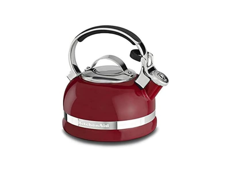 KitchenAid red tea kettle with a stainless steel band and cover