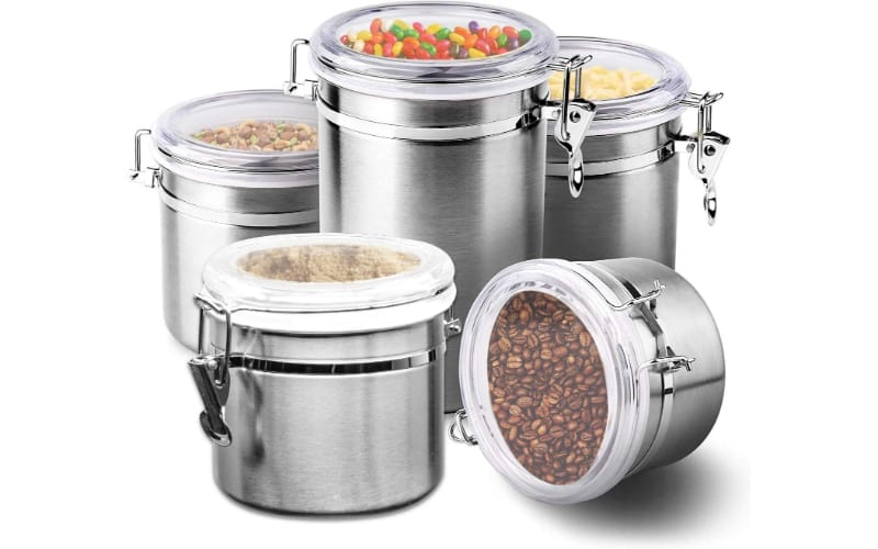 Le'raze [Set of 5] Stainless Steel Airtight Canister Set