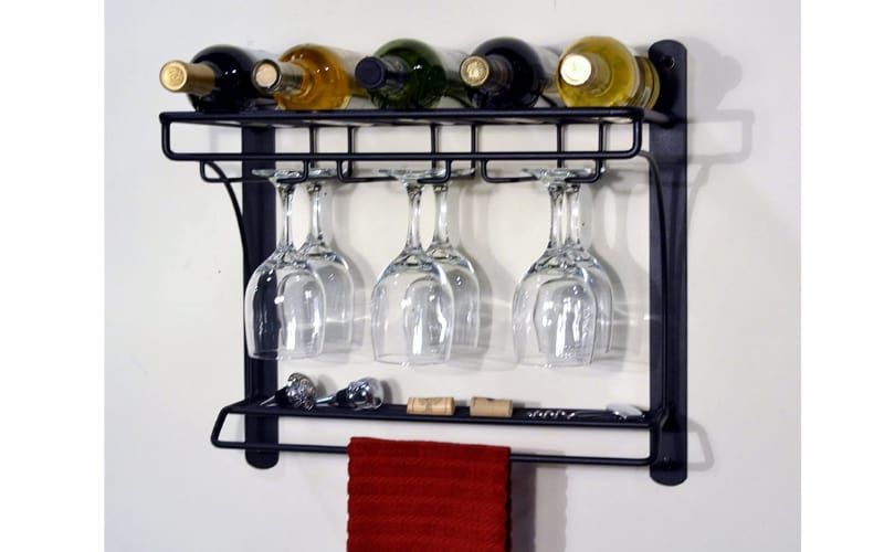 Mounted wine racks with bottles and wine glasses
