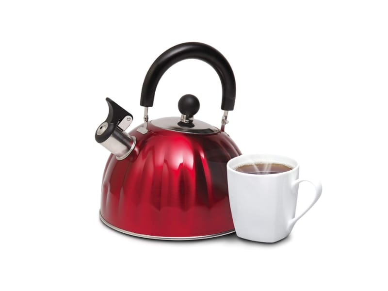 Mr. Coffee's red, stainless steel tea kettle with a complimentary cup of tea