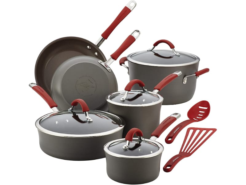 Rachael Ray Cucina Hard-Anodized Nonstick Cookware Pots and Pans Set  Pros