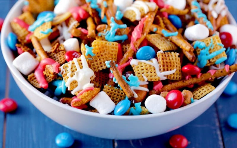 Red, White, and Blue Cereal Snack Mix - Image by Tablespoon