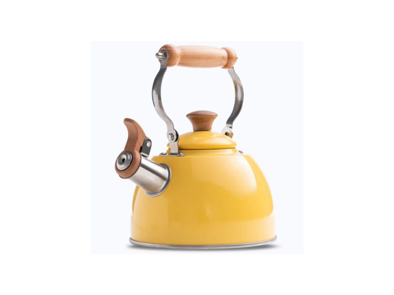 RockUrWok's bright yellow tea kettle with a wooden handle and toplid knob