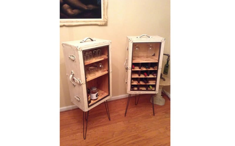 Rustic Travel Trunk Turned Liquor Cabinet - Image by Upcycle That