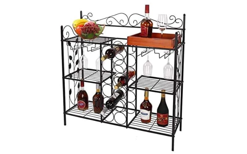 Shelf Kitchen Bakers Rack Console Table with 12 Bottles Wine Storage and 12 Glass Holder