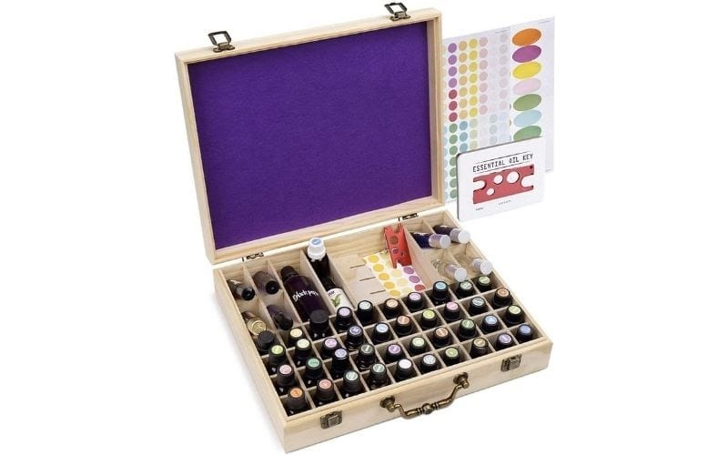 Soligt 72 Bottle Wooden Essential Oils Storage Box with Handle