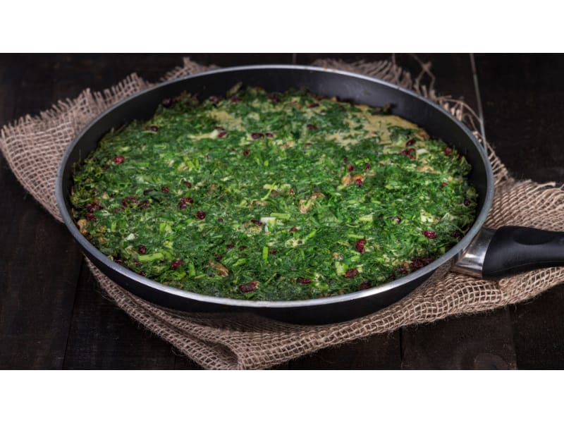 Spring Herb Frittata in a pan