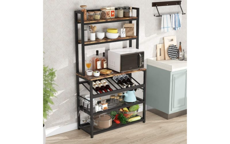 TIYASE 6-Tier Kitchen Baker's Rack with Storage and Wine Rack