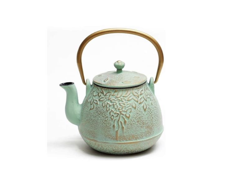Top-Tier Japanese cast iron tea kettle with a charming pattern and a gold handle