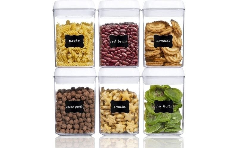 Vtopmart 6 Pieces Small BPA Free Plastic Cereal Containers with Easy Lock Lids