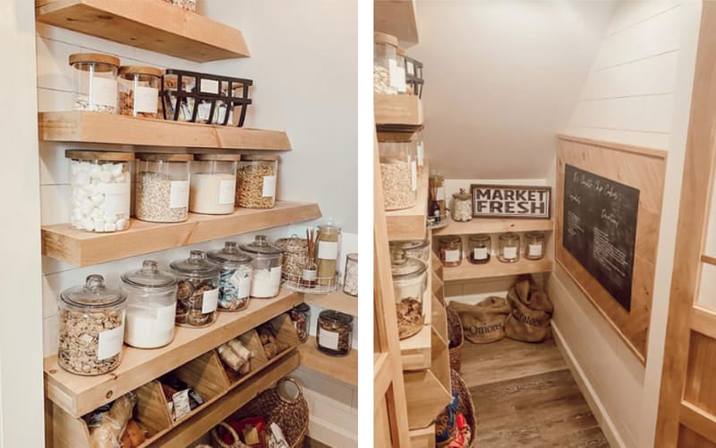 Wooden Pantry Organized Using Glass Canisters - Image by Chey and Brandon