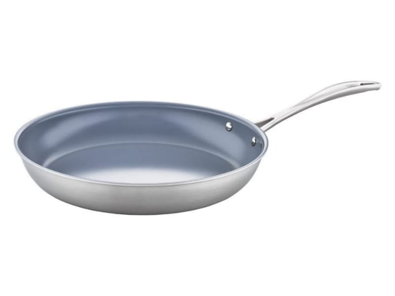 Zwilling Forte's sleek, silver nonstick pan with a flat bottom and stainless steel handle