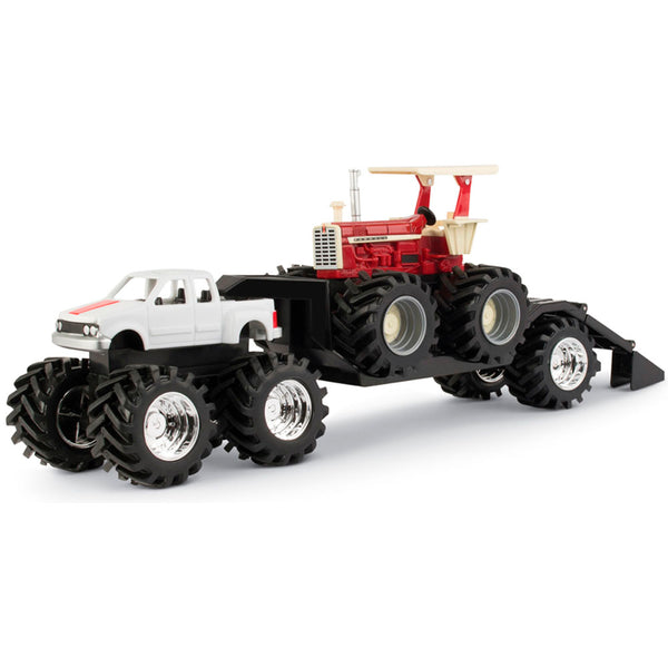 TRATOR ERTL CASE IH MONSTER TREADS - TRUCK AND TRAILER WITH FARMALL TRACTOR 37867B - ESCALA 1/64