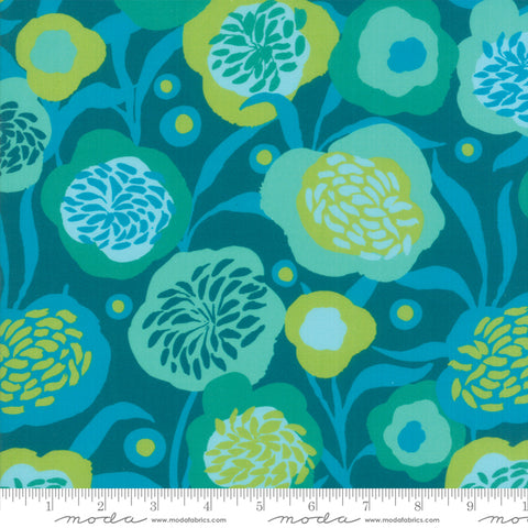 Growing Beautiful Peonies Teal RAYON