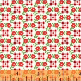 Sugar Sack Gingham Floral Red