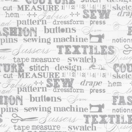 Sewing Studio Grey Words