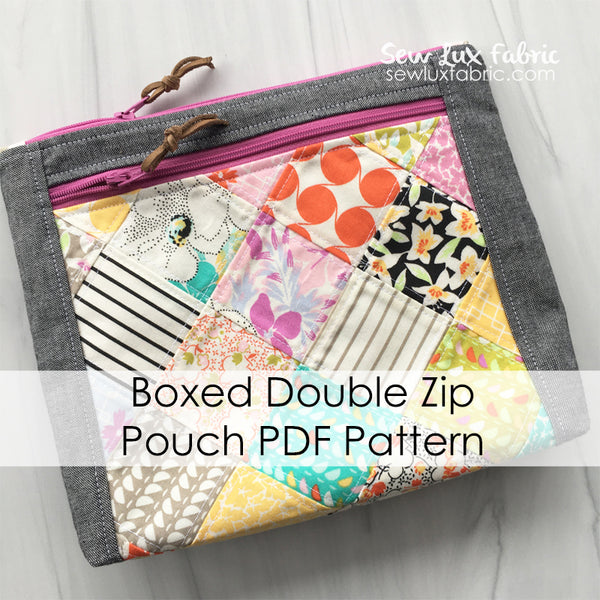 Boxed Double Zip Pouch PDF Pattern