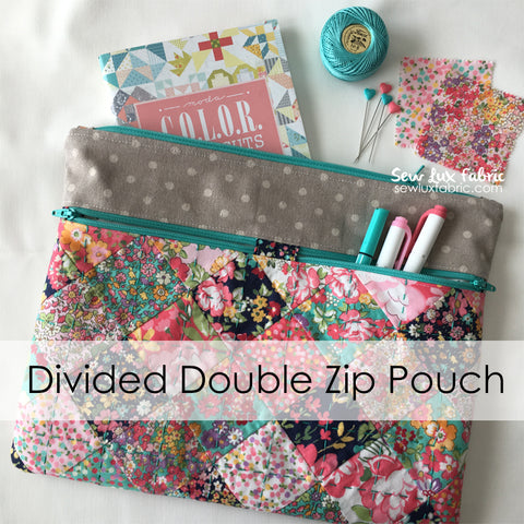 Divided Double Zip Pouch - PDF Pattern