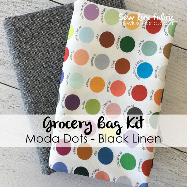 Moda Dots Black Linen Grocery Bag Kit