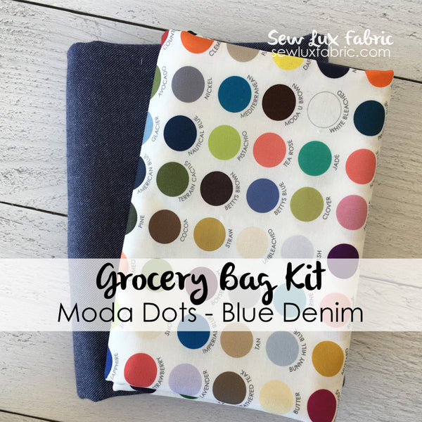 Moda Dots Blue Denim Grocery Bag Kit