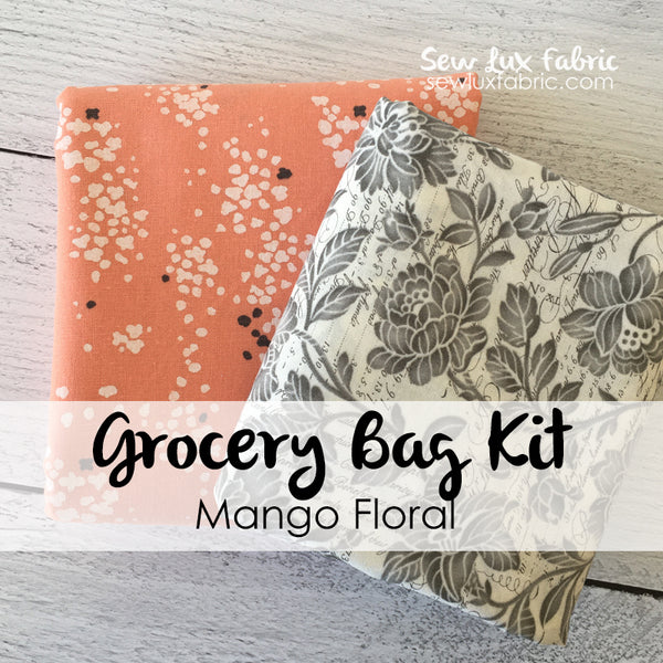 Mango Floral Grocery Tote Fabric Kit