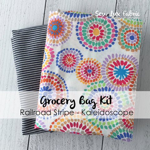 Railroad Denim Kaleidoscope Grocery Tote Fabric Kit