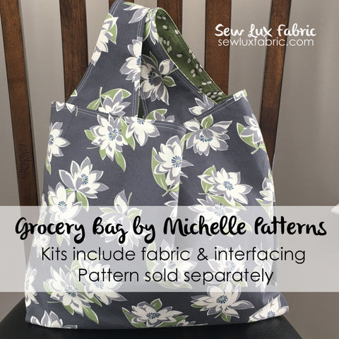 Grey Dots Jungle Cats Grocery Tote Fabric Kit