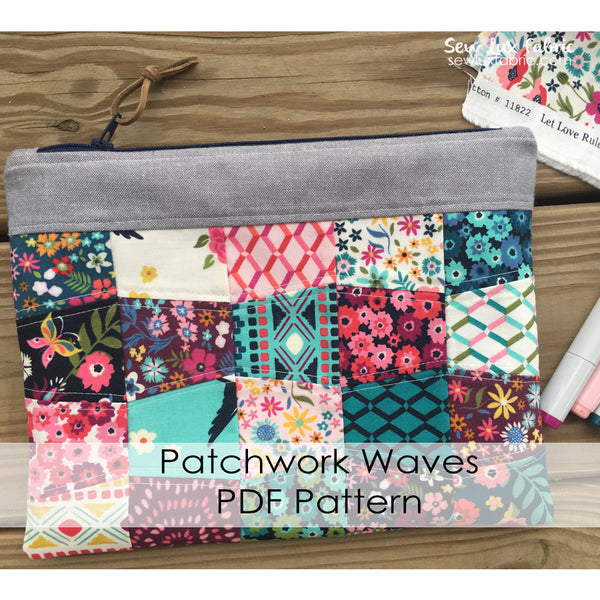 Patchwork Waves Pouch Pattern PDF