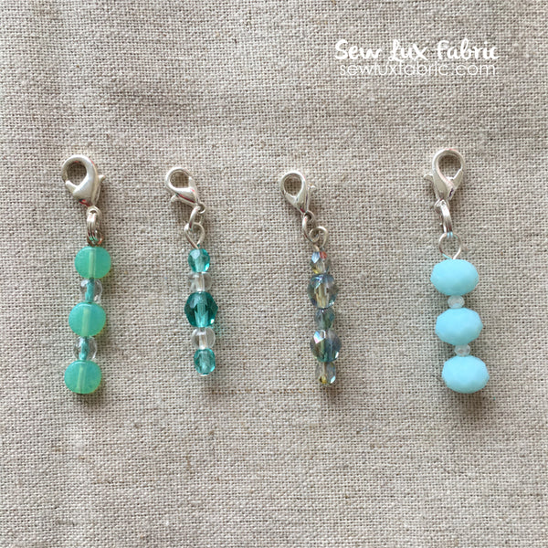 Beaded Zipper Pull - Aqua