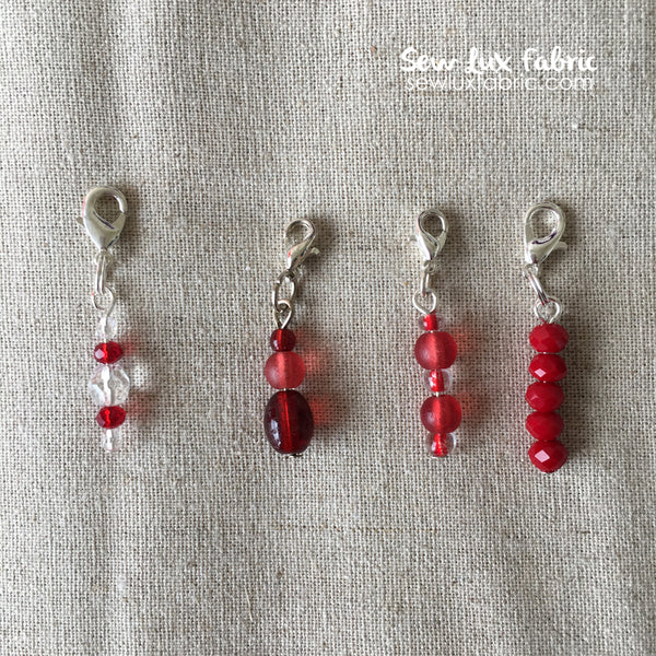 Beaded Zipper Pull - Red