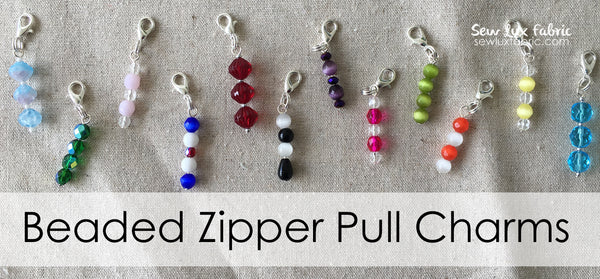 Beaded Zipper Pull Charm - Choose Color