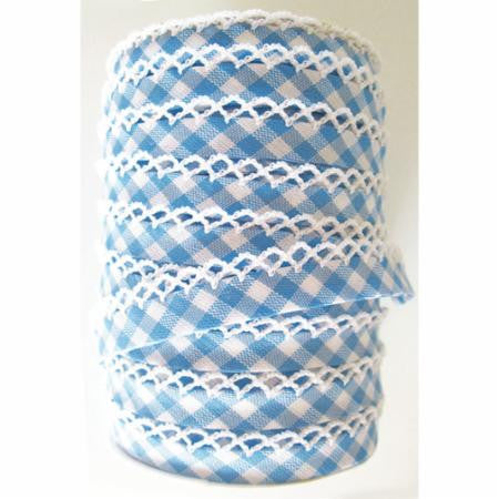 Crochet Edge Bias Tape - Dutch Blue Gingham