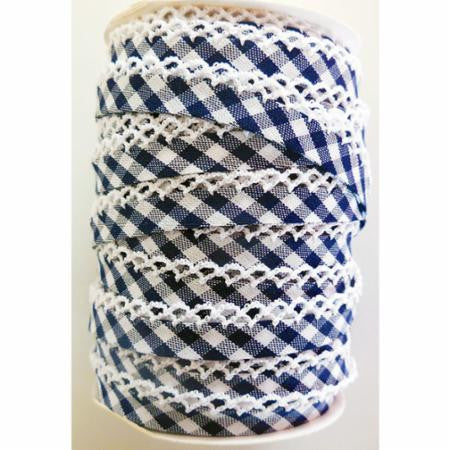 Crochet Edge Bias Tape - Navy Gingham