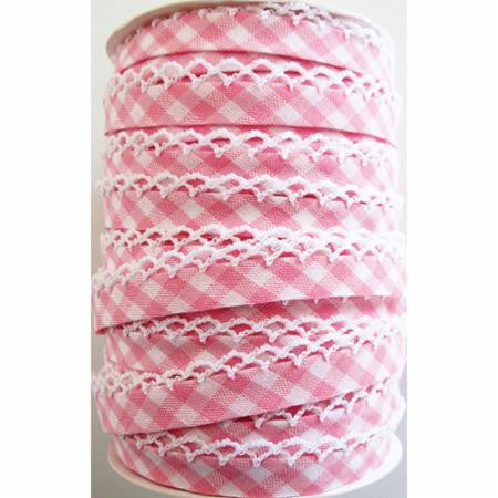 Crochet Edge Bias Tape - Pink Gingham