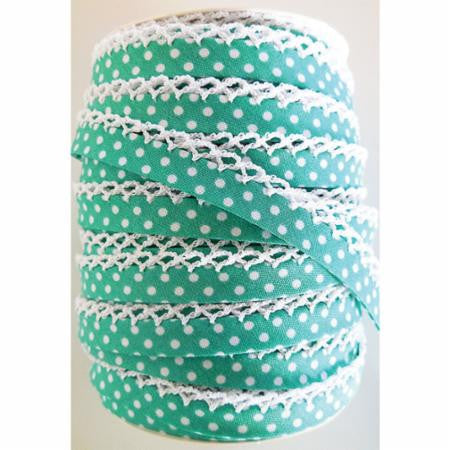 Crochet Edge Bias Tape - Dots Seafoam