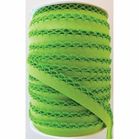 Crochet Edge Bias Tape - Solid Lime Green