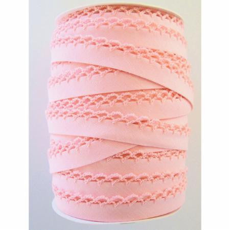 Crochet Edge Bias Tape - Solid Light Pink