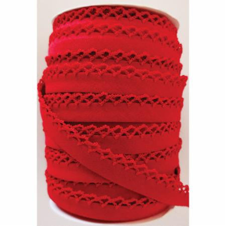 Crochet Edge Bias Tape - Solid Red