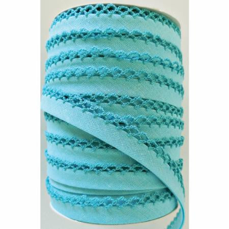 Crochet Edge Bias Tape - Solid Turquoise