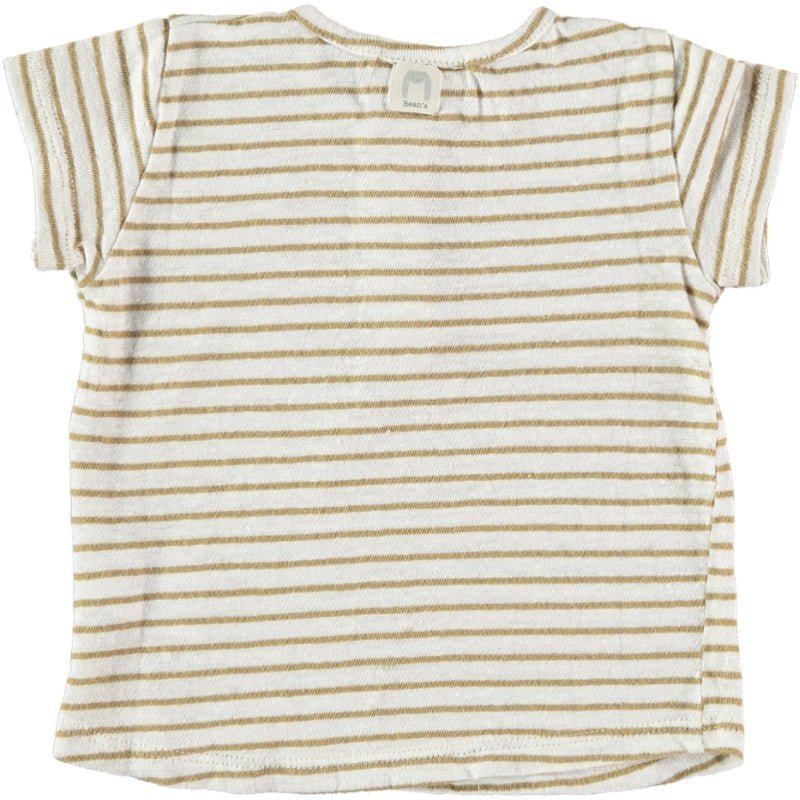 Striped linen T-shirt camel