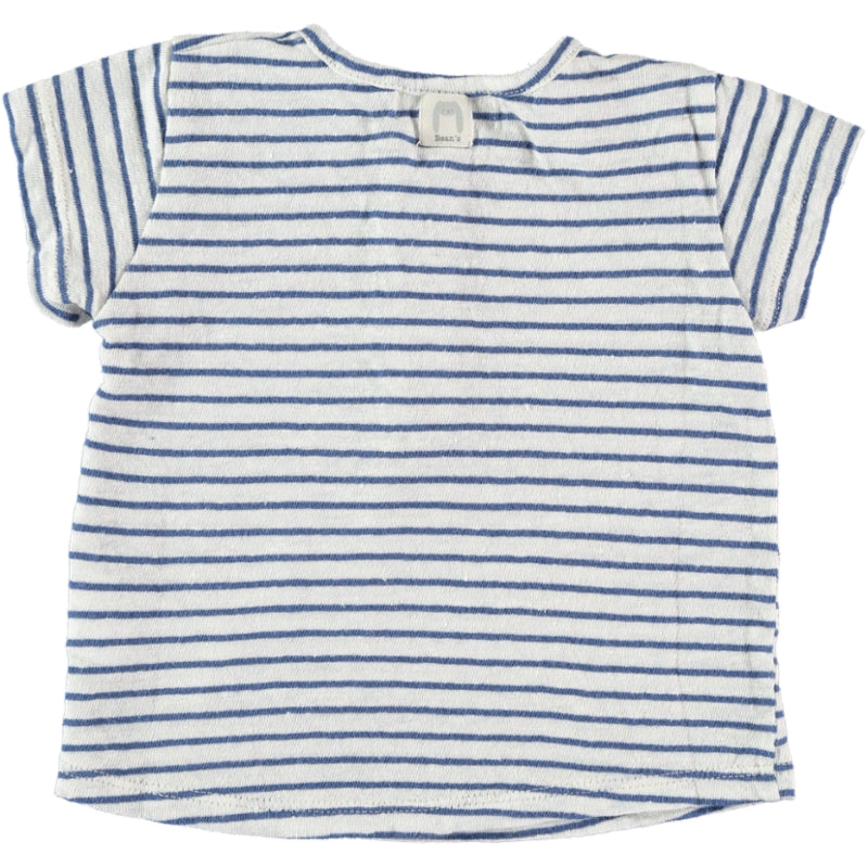 Striped linen T-shirt blue