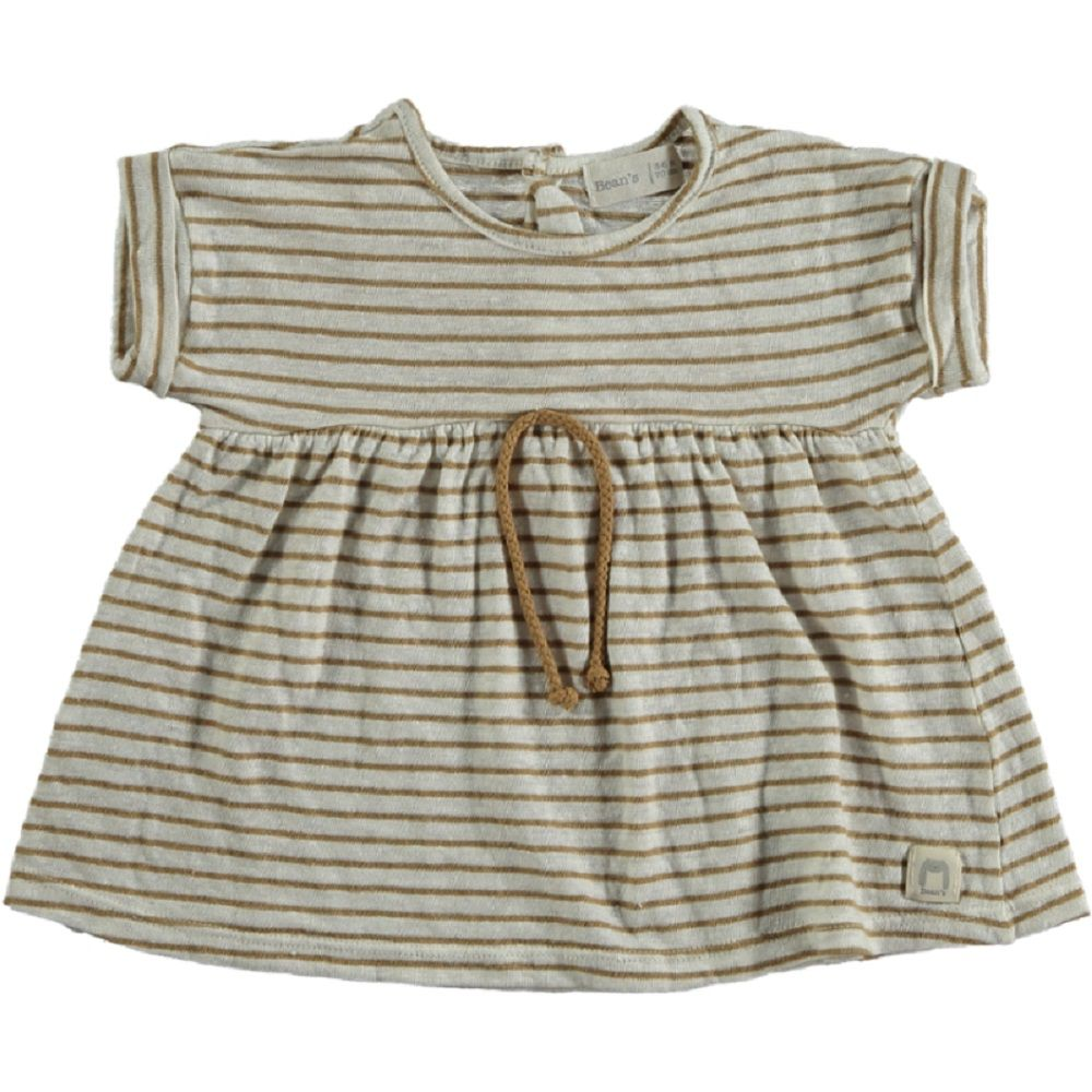 Striped linen Dress camel