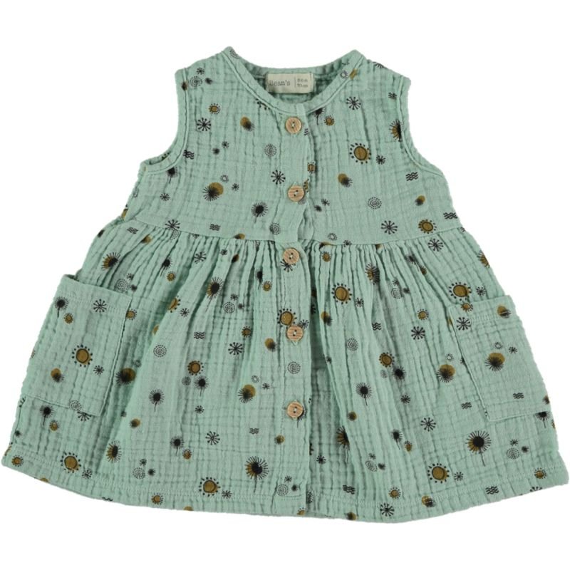 Printed pockets Dress seagreen