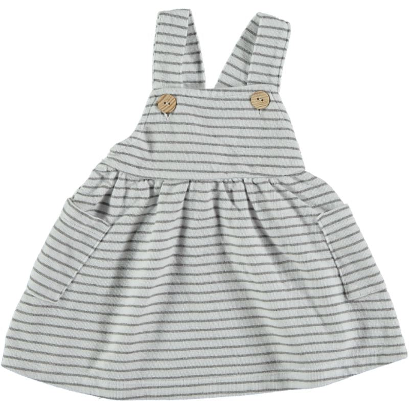 Striped summer fleece Dress white